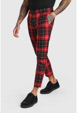Skinny Red Tartan Cropped Smart Trouser