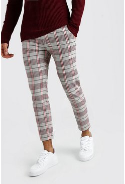 Stone Tartan Cropped Smart Trouser