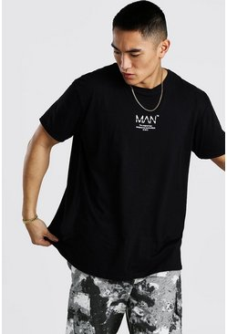 Black MAN Utility Loose Fit Front & Back Print T-Shirt