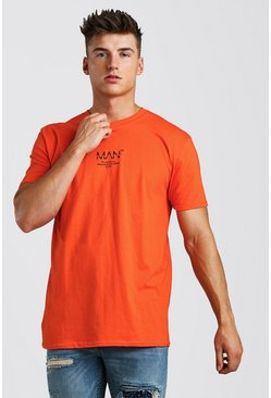 MAN Utility Loose Fit Front & Back Print T-Shirt, Orange