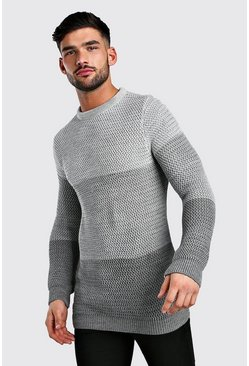 Ombre Waffle Stitch Crew Neck Knitted Jumper, Grey