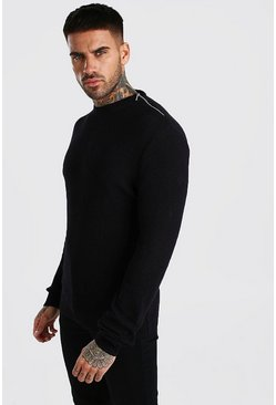 Black Turtle Neck Jumper With Zip Detail