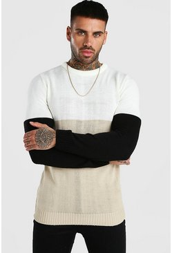 Stone Brushed Colour Block Crew Neck Sweater