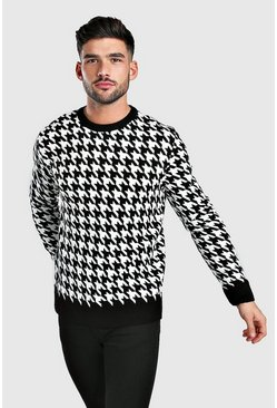 Black Houndstooth Crew Neck Jumper