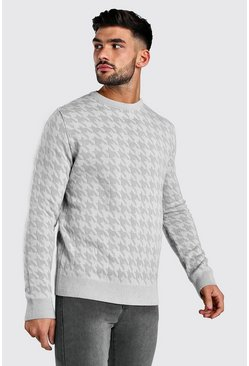 Houndstooth Crew Neck Jumper, Grey