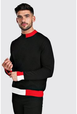 Black Colour Block Turtle Neck Jumper