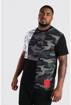 Big & Tall MAN Official T-Shirt mit Camouflagemuster, Schwarz