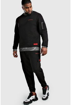 Black Big And Tall MAN Official Camo Detail Tracksuit