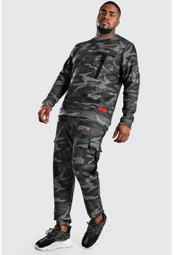 Dark green Big And Tall MAN Official Camo Tracksuit