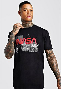 Oversized NASA Print T-Shirt, Black