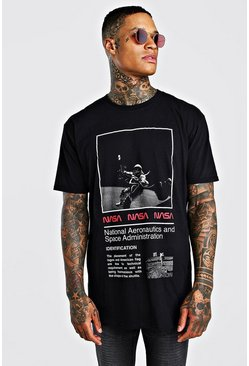 Oversized NASA Back Print T-Shirt, Black
