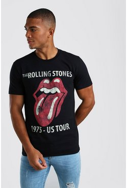 Black The Rolling Stones 1975 Licensed T-Shirt