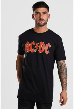 Black Oversized AC DC Print T-Shirt