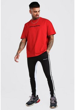 Black Oversized MAN Official T-Shirt & Tricot Jogger Set