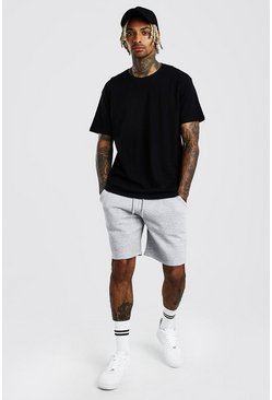 Black Hi-Lo Loose Fit T-Shirt & Short Set