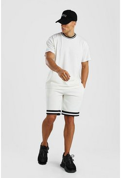 Ecru Contrast Rib Loose Fit T-Shirt & Short Set