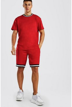 Geripptes Loose Fit T-Shirt und Basketball-Shorts im Kontrastdesign, Rot