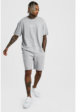 Grey marl MAN Dash Oversized T-Shirt & Short Set
