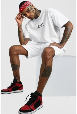 White MAN Dash Oversized T-Shirt & Short Set