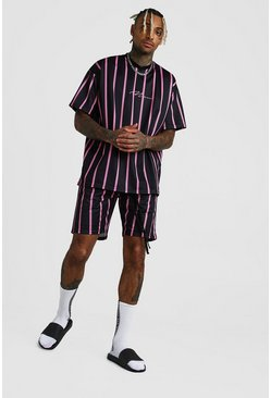 Oversized Set aus Airtex-T-Shirt und Basketball-Shorts, Schwarz