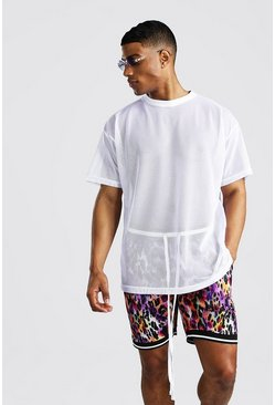 Oversized Set aus Airtex-T-Shirt und Basketball-Shorts, Weiß