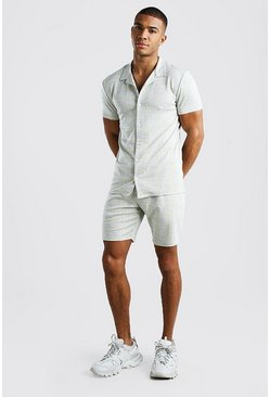 Revere Collar Short Sleeve Shirt & Short Set, Grey