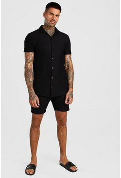 Short Sleeve Revere Collar Ribbed Shirt & Short Set, Black
