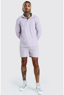Long Sleeve Half Placket Shirt & Short Set, Grey