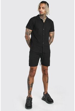 Short Sleeve Textured Shirt & Short Set, Black