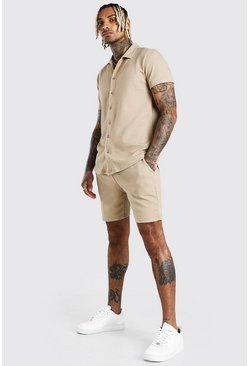 Short Sleeve Textured Shirt & Short Set, Taupe