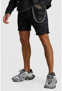 Slim Fit Bandana Print Denim Shorts With Chain, Black