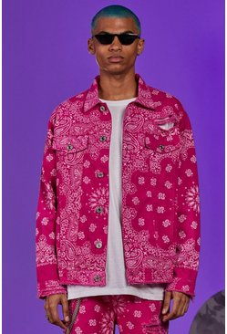 Bandana Print Denim Jacket, Hot pink