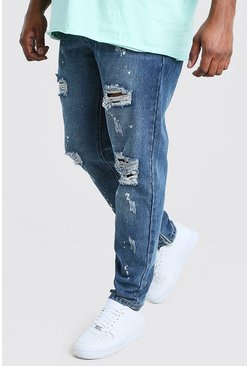 Mid blue Big And Tall Rigid Jean With Bleach Splatter