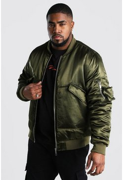 Big And Tall Smart Padded MA1 Bomber Jacket, Khaki