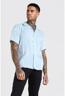 Short Sleeve Revere Collar Sheer Shirt, Pale blue