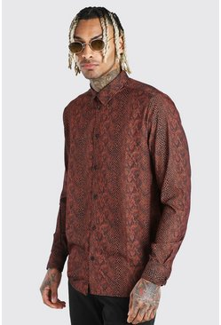 Long Sleeve Shirt In Snake Print, Tan