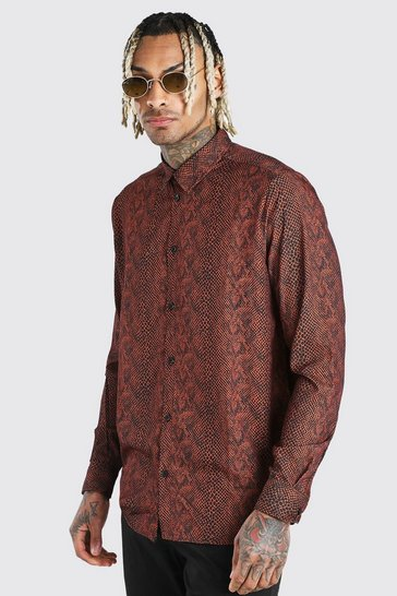 Tan Long Sleeve Shirt In Snake Print