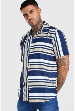 Navy Short Sleeve Mixed Stripe Shirt