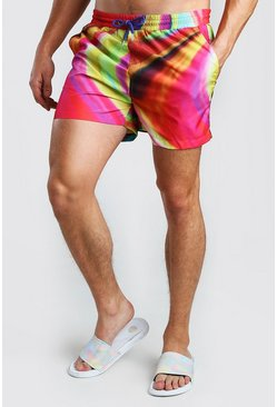 Yellow Mid Length Swim Short In Bright Marble Print