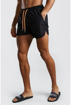 Black Plain Runner Style Swim Shorts With Contrast Cords