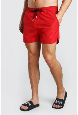 Red Plain Runner Style Swim Shorts With Contrast Cords