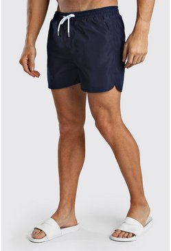 Navy Plain Runner Style Swim Shorts With Contrast Cords