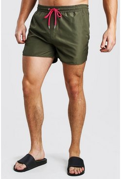 Khaki Plain Runner Style Swim Shorts With Contrast Cords