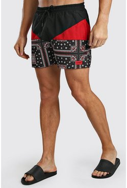 Red Colour Block Bandana Swim Short With MAN Badge