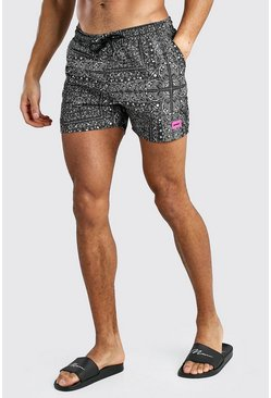 Black Mid Length Bandana Print Swim Short With MAN Badge