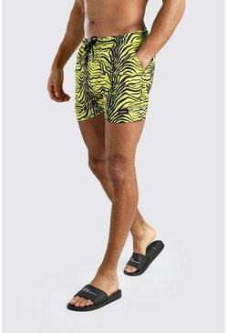 Yellow Mid Length Animal Print Swim Short With MAN Badge