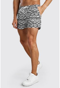 Grey Short Length Snake Print Swim Shorts