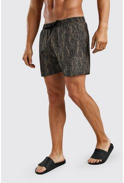 Black Short Length Palm Print Swim Shorts