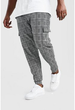 Grey Big And Tall Check Cuffed Cargo Jogger