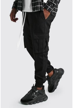 Black Big And Tall Ankle Detail Twill Cargo Pants